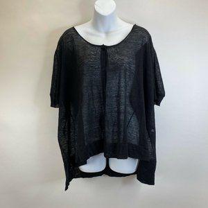 Eileen Fisher Black Semi Sheer Button Up Cardigan